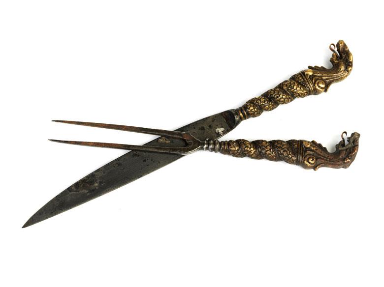 Besteckpaar in Stahl und Bronze