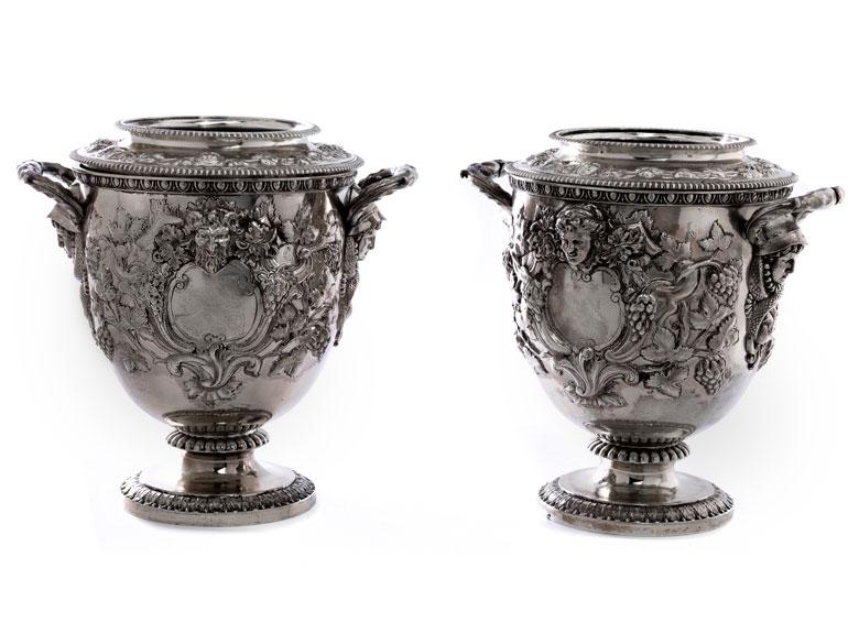 Paar silberne George IV-Champagnerkühler