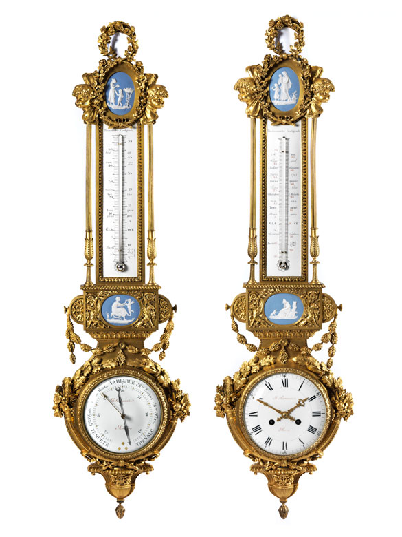 pr chtiges paar instrumentarien barometer bzw uhr mit thermometer hampel fine art auctions. Black Bedroom Furniture Sets. Home Design Ideas