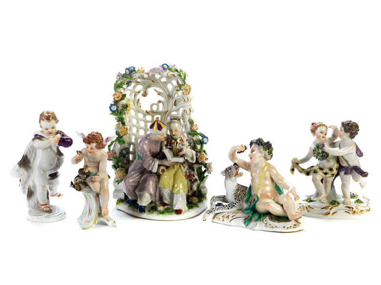 Konvolut von fünf Meissener Porzellanfigurengruppen