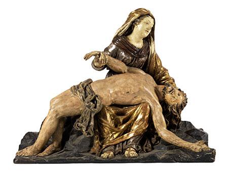 """Bedeutende museale Schnitzfigurengruppe einer """"Pietá"""""""