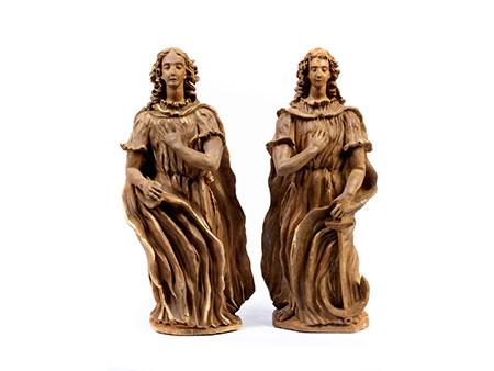Paar allegorische Tonfiguren