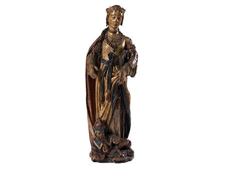 Lebensgroße museale Schnitzfigur der Heiligen Katharina