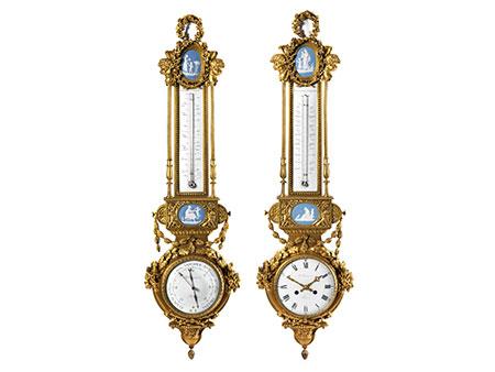 Prächtiges Paar Instrumentarien Barometer bzw. Uhr mit Thermometer
