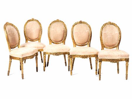 Satz von fünf Louis XVI-Stühlen