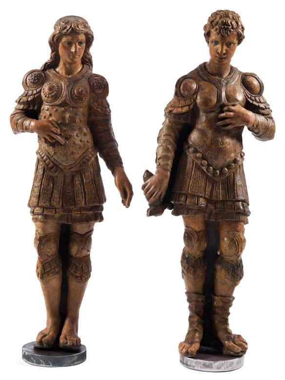 Paar seltene aus Stucco gearbeitete Jünglingsfiguren, Guerrieri aus dem Nachfolgekreis des Andrea Briosco (1470 Padua - 1532), auch als Il Riccio bekannt