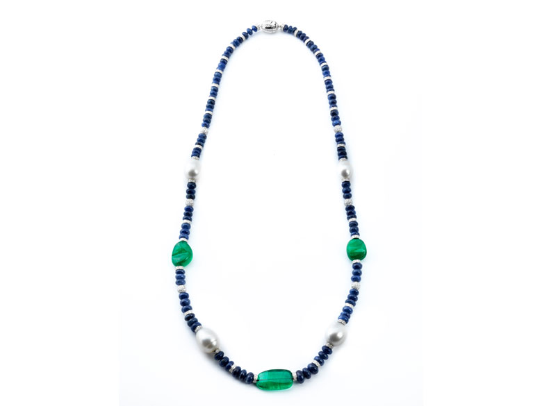 Saphir-Smaragd-Perlenkette