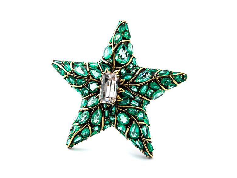 Seestern-Smaragd-Broschanhänger