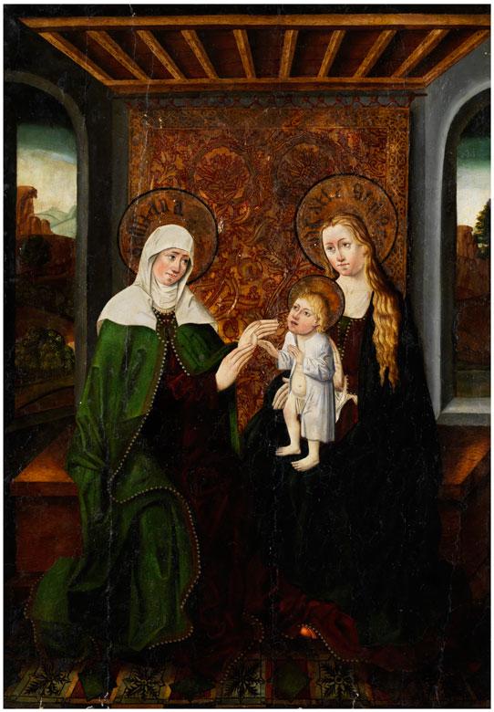 Süddeutscher Meister, um 1560 Gotisches Tafelbild mit Darstellung Anna Selbdritt