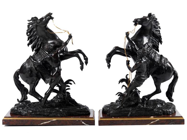 Paar Pferdebronzen nach Modell von Guillaume Coustou (1677–1746)