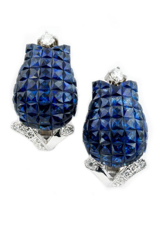 Saphir-Diamantohrringe