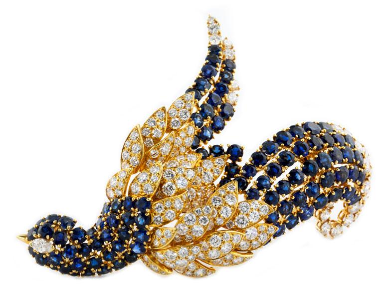 Saphir-Diamant-Vogelbrosche von Jahan
