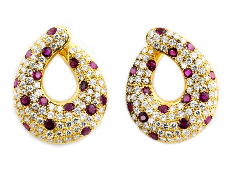 Rubin-Diamantohrringe von Adler