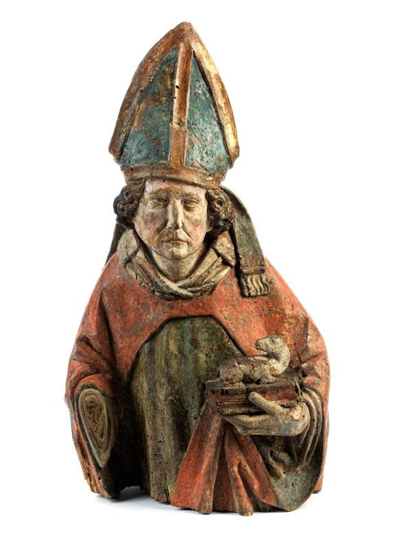 Geschnitzte Büste des Heiligen Lambert von Freising (um 895-957)