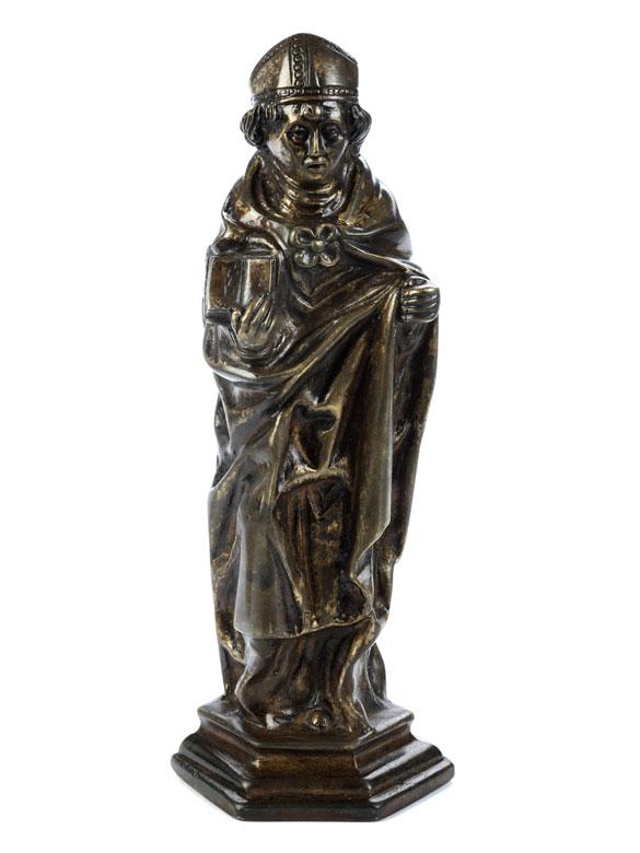Bronzestatuette eines Heiligen Bischofs