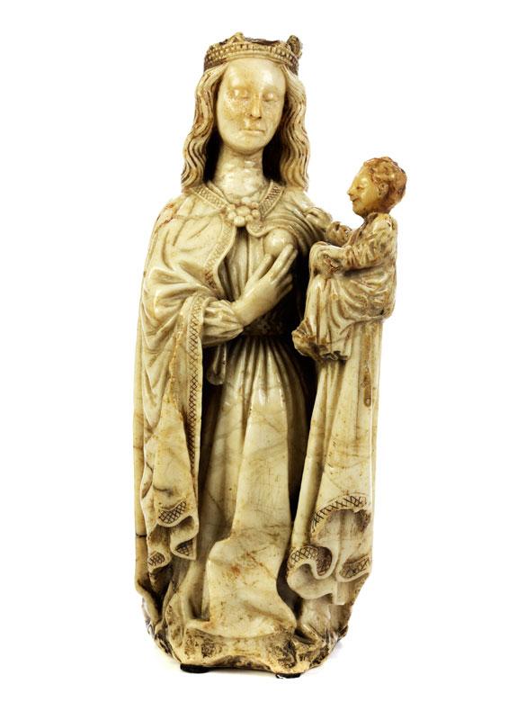 Alabasterfigur einer Madonna mit Kind