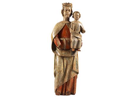 Große in Holz geschnitzte Figurengruppe der Maria mit dem Kind