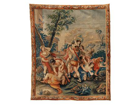 Französischer Bildteppich des 18. Jahrhunderts mit historischer Szenerie