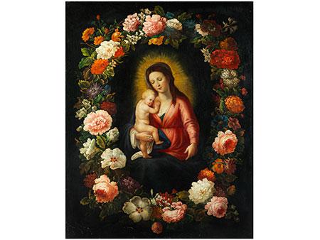 Madonna mit Kind in Blütenkranz