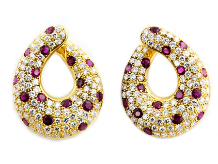 Detail images:  Rubin-Diamantohrringe von Adler