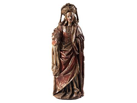 Spätgotische Schnitzfigur der Heiligen Maria Magdalena