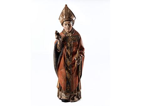 Gotische Schnitzfigur des Heiligen Blasius