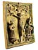 Detailabbildung: Glasiertes Tonrelief mit Darstellung des Kreuzes Christi zwischen zwei Heiligenfiguren