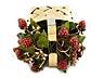 Detail images: Kleiner Zierkorb in vergoldetem Silber mit Tragehenkel, Blütenblättern und Erdbeerfrüchten