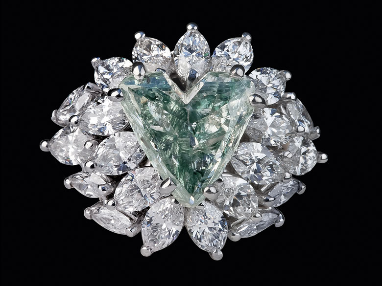 Grüner Diamant-Herzring