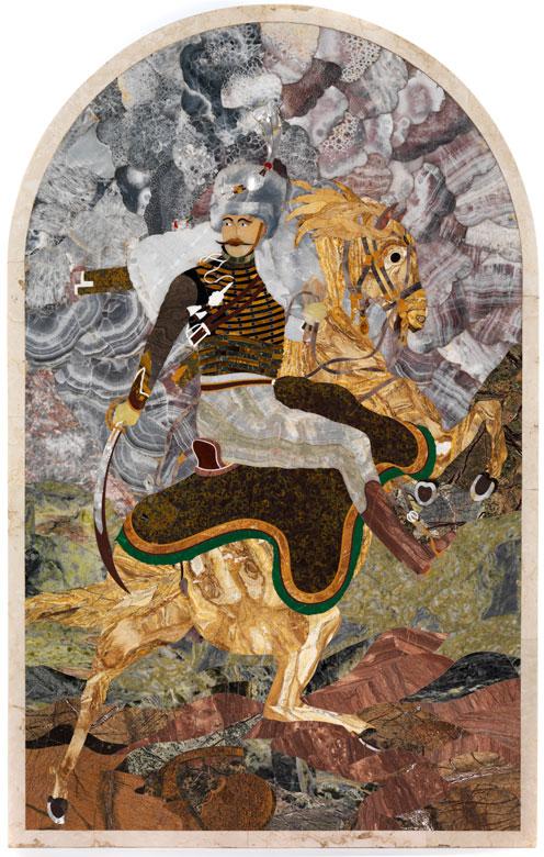 Florentinische Pietra dura-Platte mit Kosake