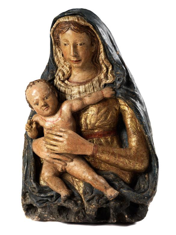 Florentinische Terrakottafigur Maria mit dem Kind