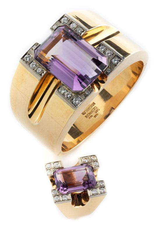 Amethyst-Diamantarmreif und Ring