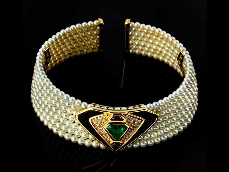 Perl-Smaragd-Onyx-Halsreif von Marina B