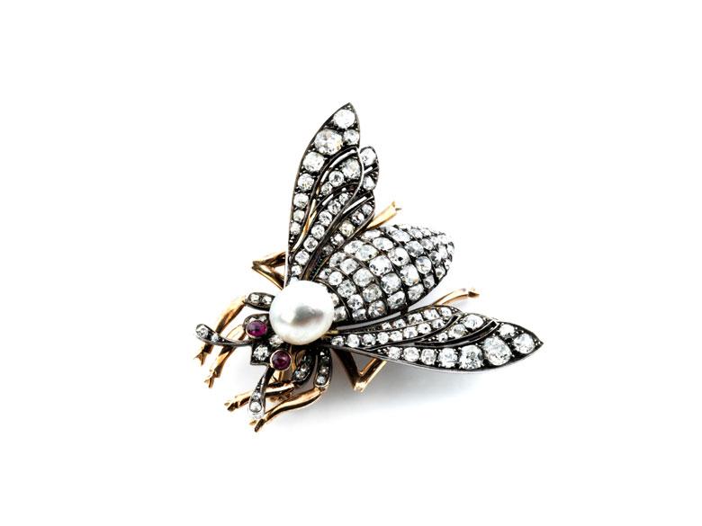 Diamant-Perl-Bienenbrosche