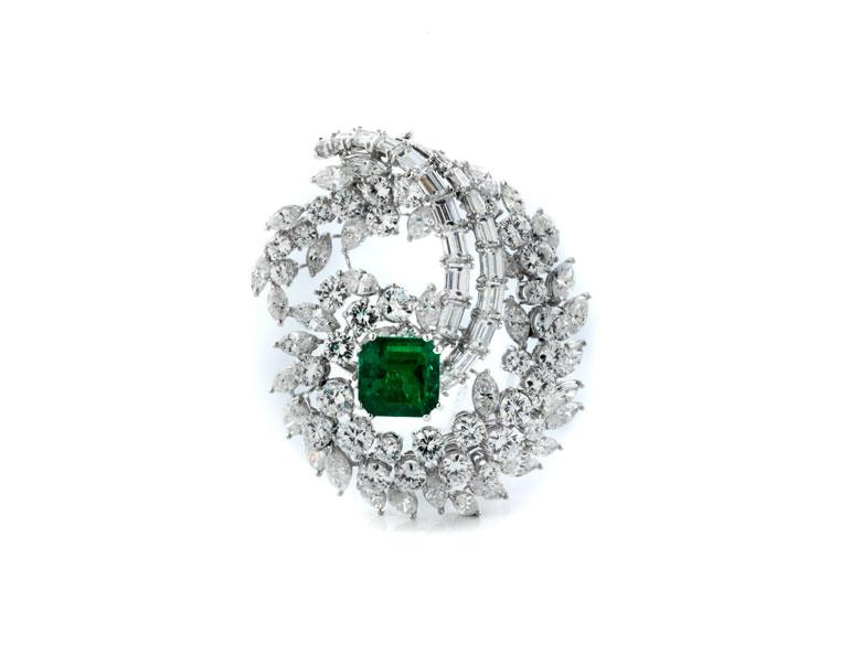 Smaragd-Diamantbrosche