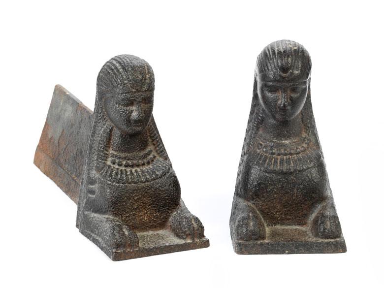 Paar Kaminböcke als Sphingen