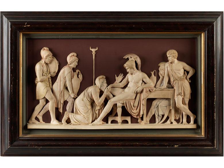 Bas-Relief Priamus bittet Achill um Hektors Leichnam