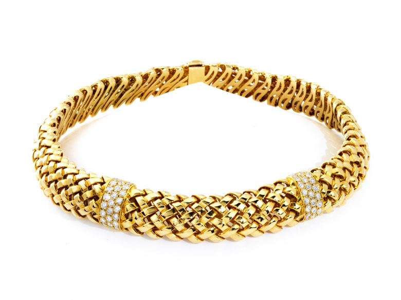 Gold-Brillantcollier Vannerie von Tiffany