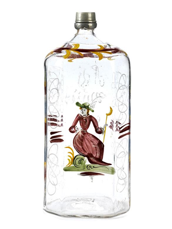 Große Achtkantflasche mit Emailmalerei und Zinnschraubverschluss