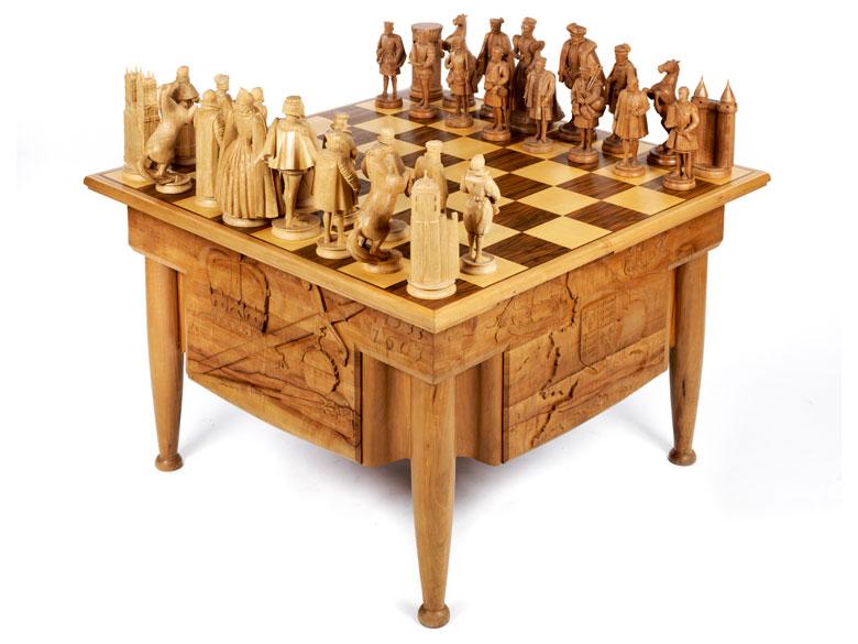 Großes Tischschachspiel Königin Elisabeth gegen Königin Maria Stuart