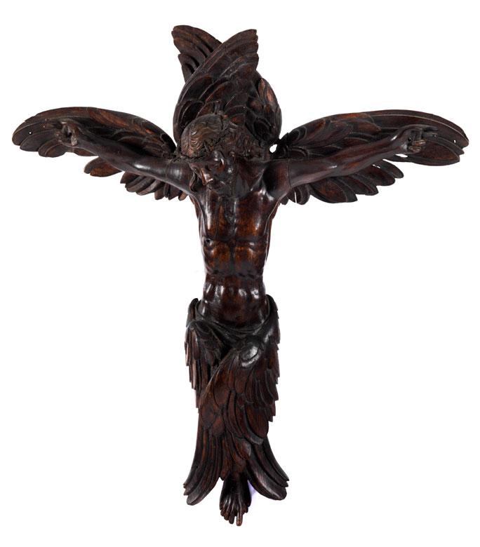 Äußerst seltene museale Kreuzesdarstellung mit Seraphimflügeln