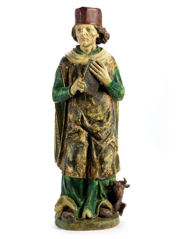Schnitzfigur des Heiligen Apostels Lukas