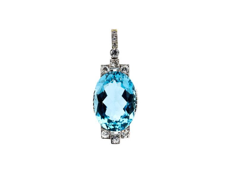 Aquamarin-Diamantanhänger