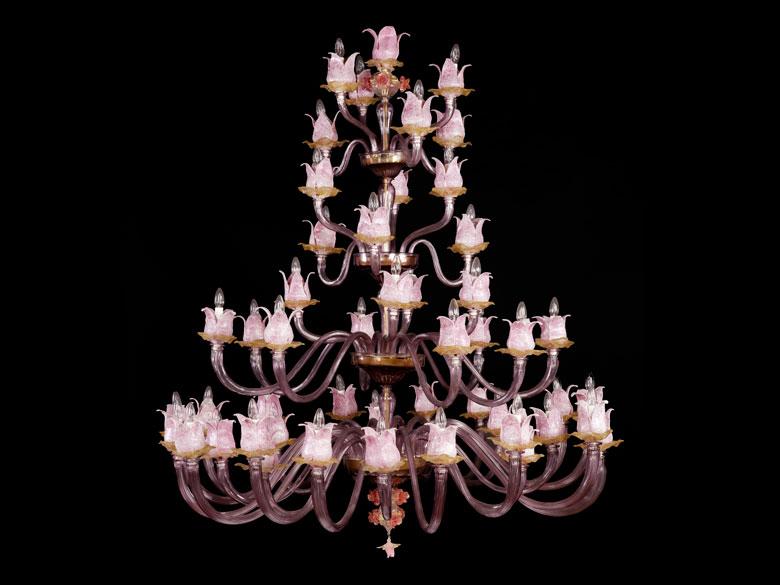Außergewöhnlicher Muranoglas-Deckenleuchter mit Magnoliendekor