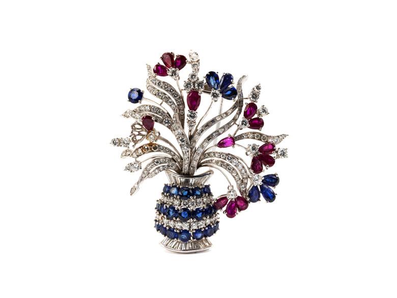 Rubin-Saphir-Diamantbrosche