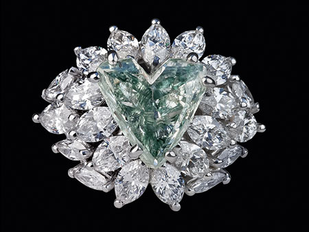 Detail images:  Grüner Diamant-Herzring