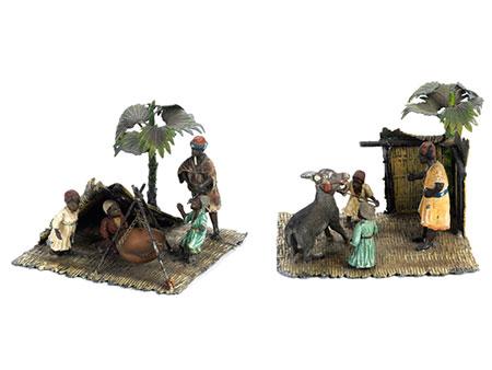 Paar Wiener Bronzen mit Szenen aus dem dörflichen Leben