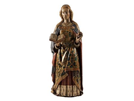 Große Schnitzfigur einer weiblichen Heiligen