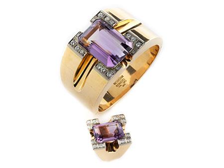 Detailabbildung: Amethyst-Diamantarmreif und Ring