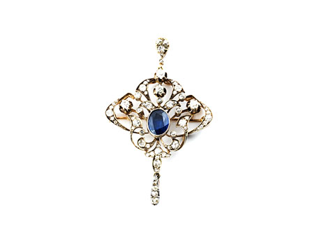 Detailabbildung: Diamant-Saphir-Broschanhänger